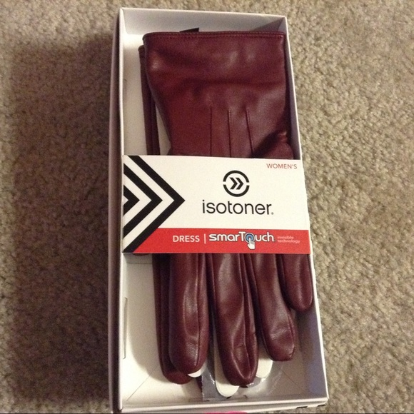 isotoner Accessories - Isotoner Red Leather Gloves